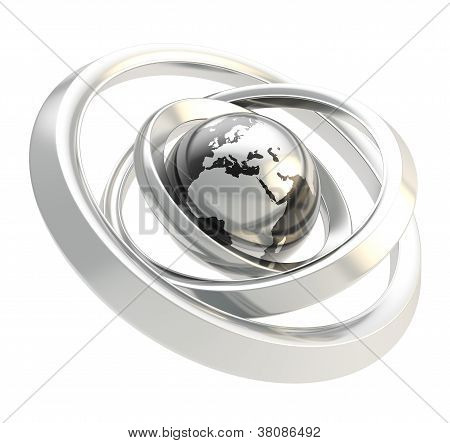 Earth Globe Emblem Inside The Ring Torus Isolated