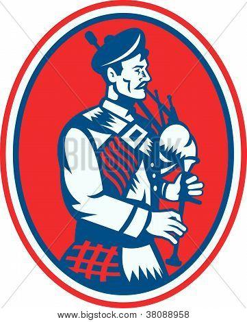 Scotsman Scottish Bagpipes Retro