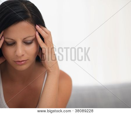 Closeup On Thoughtful Young Woman