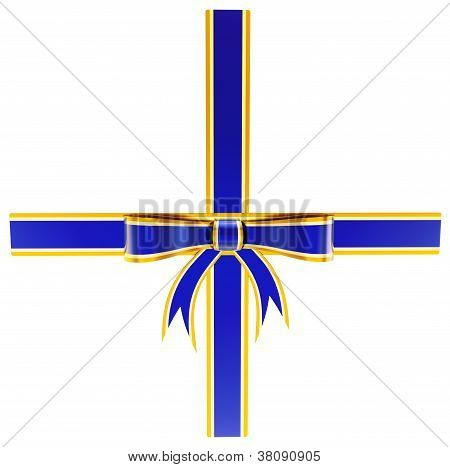 blue with gold gift bow
