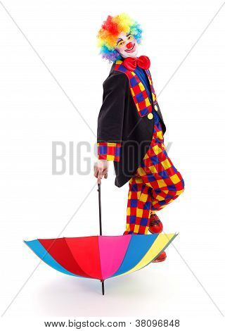 Happy Clown With Umbrella