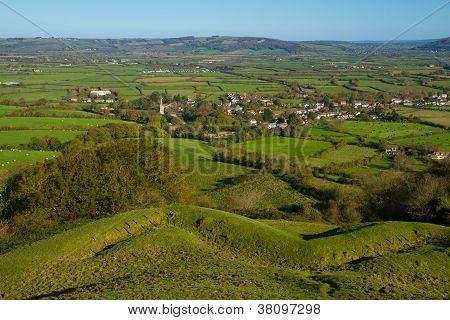 Brent Knoll Somerset view towards the Mendip Hills