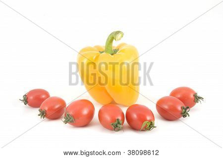 Sweet Yellow Peppers And Tomatoes
