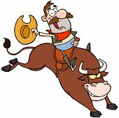 picture of bull-riding  - Happy Cowboy Riding Bull In Rodeo Cartoon Character - JPG
