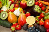 stock photo of banana  - Fruits and vegetables like tomatoes - JPG