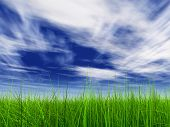 high resolution 3d green grass over a blue sky with white clouds