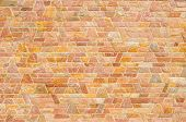 foto of trapezoid  - pattern color of modern style design decorative red slate stone wall surface with cement in trapezoid shape - JPG
