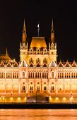 Hungarian Parliament, Night View, Budapest.