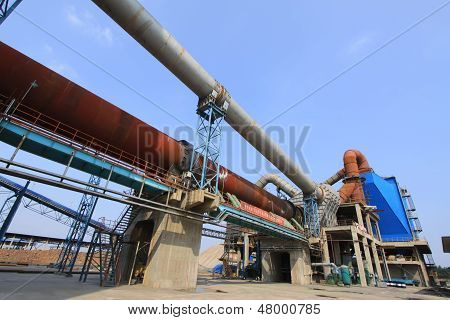 Rotary Kiln And Electric Dust Removal Equipment In A Cement Factory