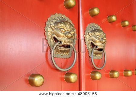Metal Knocker On The Door In The Forbidden City In Beijing, China