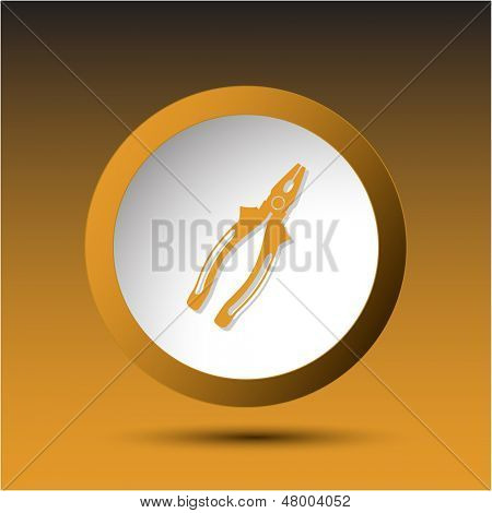 Combination pliers. Plastic button. Vector illustration.