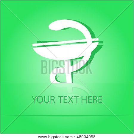 Pharma symbol. Paper sticker as bookmark. Vector illustration. Eps10.