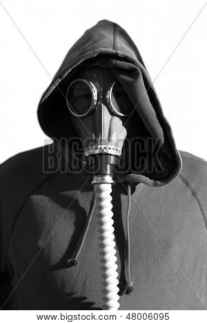 OBEY    WE ARE YOUR FRIENDS An unidentifiable human head (or is it?) in a gas mask isolated on white with text that reads,  OBEY    WE ARE YOUR FRIENDS