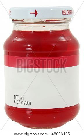 New unopened 6oz bottle of maraschino cherries over white with clipping path.