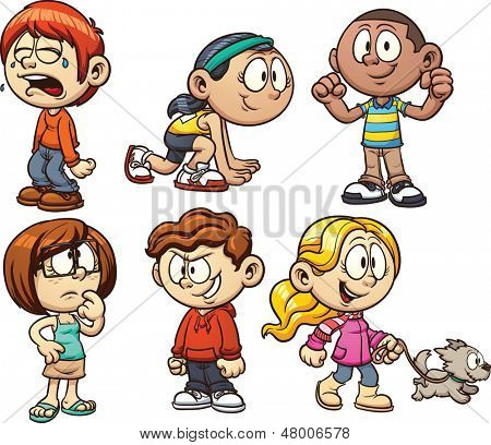 Cute cartoon kids. Vector illustration with simple gradients. Each on a separate layer.