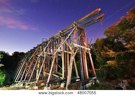 Abandoned train trestles, a local landmark in Athens, Georgia, USA