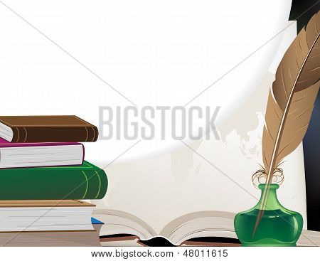 Books, Feather And Geographical Map