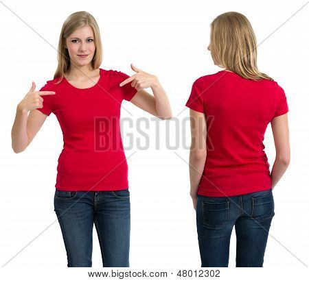 Female With Blank Red Shirt And Long Hair