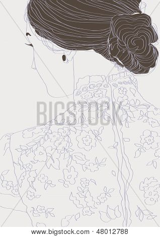Girl in a lace blouse