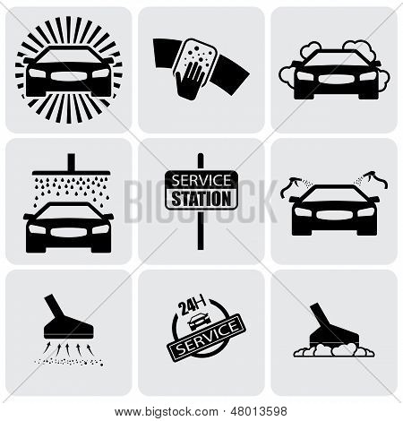 Car Wash Icons(signs) Set Of Cleaning Car- Vector Graphic