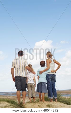 Rear view of a family standing on sand and looking at view on beach