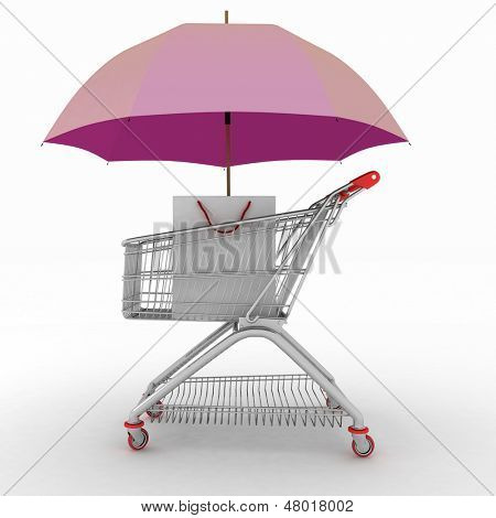 Shopping cart being protected  by an umbrella as a business concept for buyer