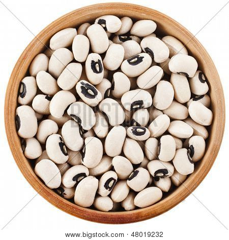 Black eyed peas beans dish top view close up isolated on a white background