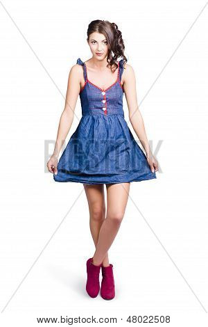 Lovable Eighties Female Pin-up In Denim Dress