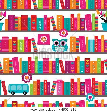 Seamless book shelve and interior illustration background pattern in vector