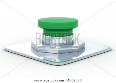 Green Button On A White Background. 3D Image