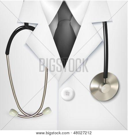 Cerca de una bata de laboratorio blanca de médicos y un estetoscopio. Ilustración del vector.