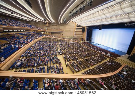 MOSCOW - SEP 30: People came to show Judgment Day on Large hall for presentations at the State Kremlin Palace on Sep 30, 2012 in Moscow, Russia. Reconstruction of the Grand auditorium was held in 2009