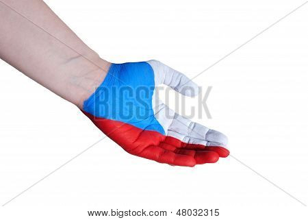 Hand In The Colors Of Czech Republic