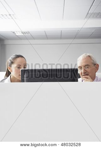 Serious businesswoman and businessman looking at computer in cubicle