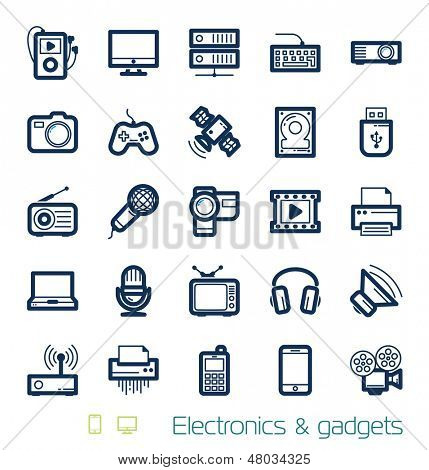 Electronics and gadgets icons set Perfect lines