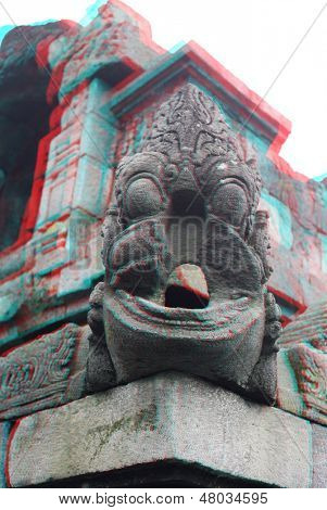 Borobudur Temple detail.Java.Indonesia. Anaglyph stereo.(you need use cyan/red glasses to take 3d effect)