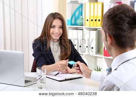 Job applicant having interview