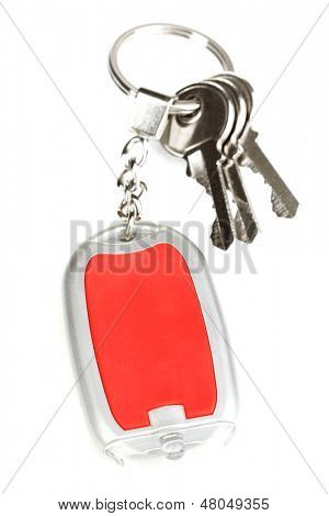 House keys and keychain isolated on white