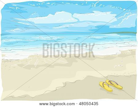 Illustration Sketch of Flipflops on the Beach
