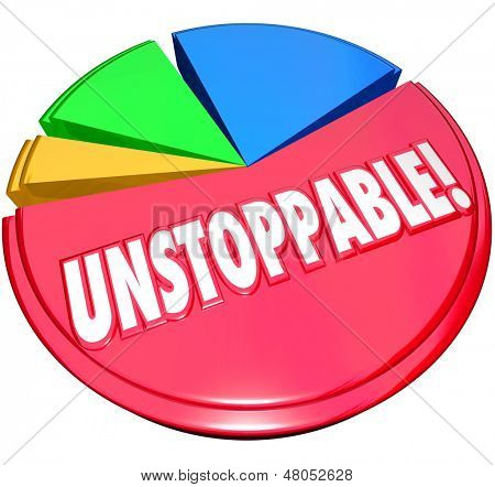 Constant growth illustrated by a pie chart and a large and growing share with the word Unstoppable to illustrate consistent increases in your lead over the competition