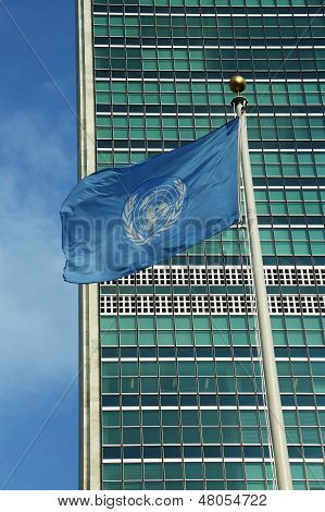 United Nations Flag in front of UN Headquater in New York