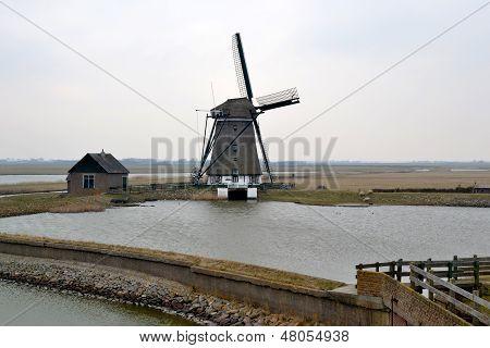 Mill Along The Lancaster Deen On Texel.