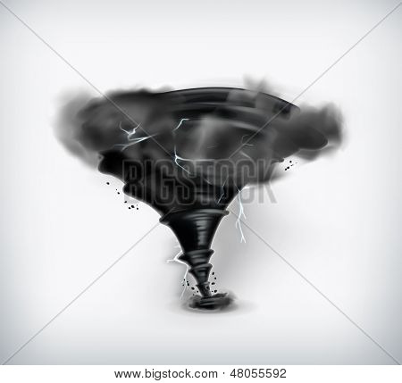 Black tornado with lightning, vector icon