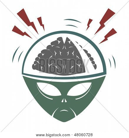 Vector illustration of alien mega brain invader