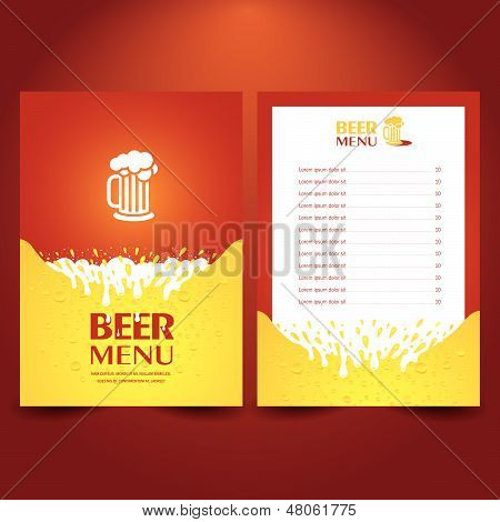 Beer Card Menu Splash, Cmyk No Transparent