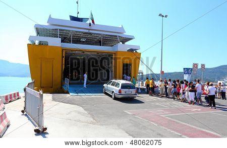 PORTOFERRAIO, ITALY - JUNE 30: Luxury passenger ship Corsica Express Seconda. Ship with capacity 700 passengers and 150 vehicles. June 30, 2013 in Portoferraio, Island of Elba, Italy.