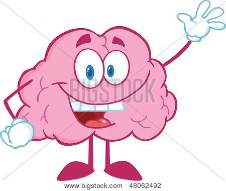 Brain Cartoon Character Waving For Greeting