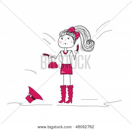 little fashionista in a purple dress and hat. vector