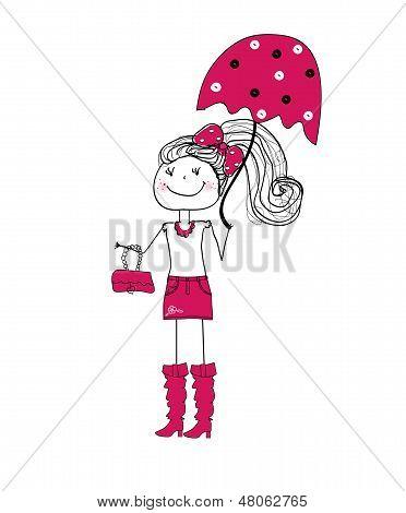little fashionista in purple. fashion and accessories. vector