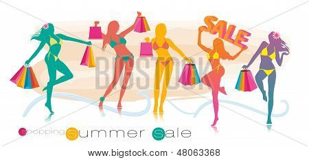 Summer shopping sale girl silhouettes